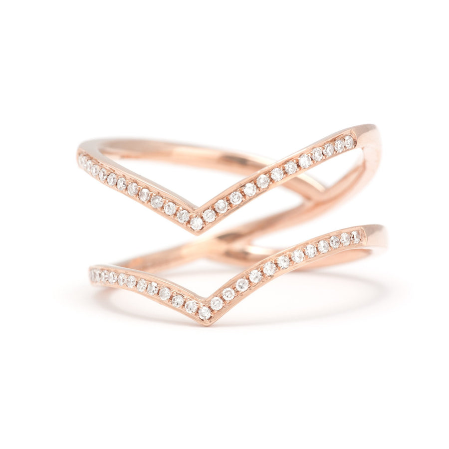 Double Row Gold & Diamond Pave V-Ring