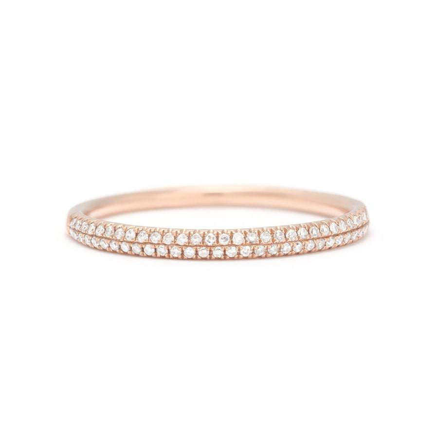 Double Row Pave Stack Ring