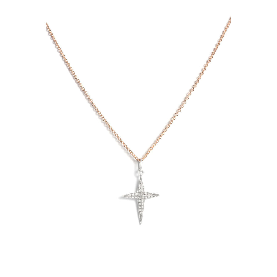 Faceted Gold & Diamond Cross Pendant