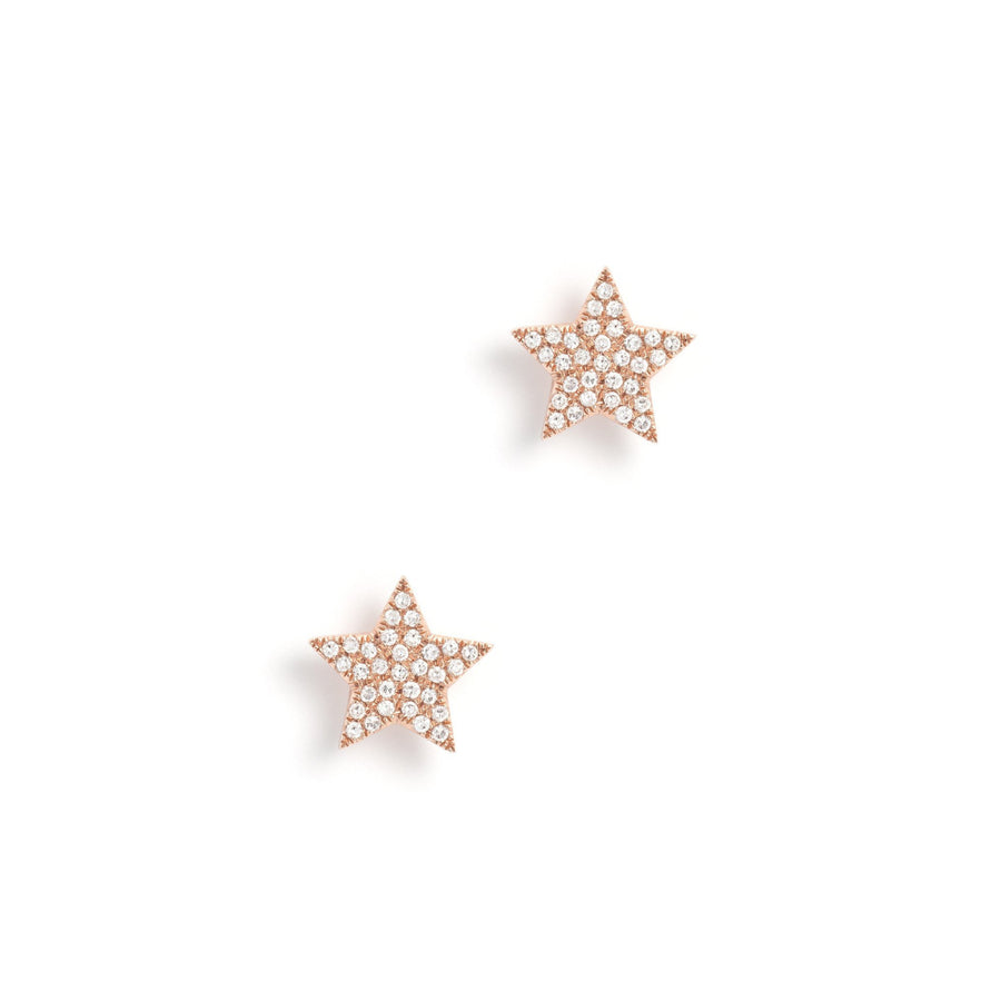 Gold & Diamond Pave Star Earrings