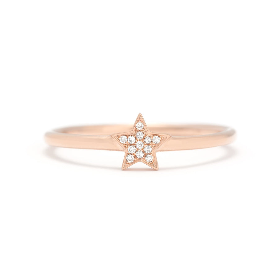 Gold & Diamond Star Stack Ring
