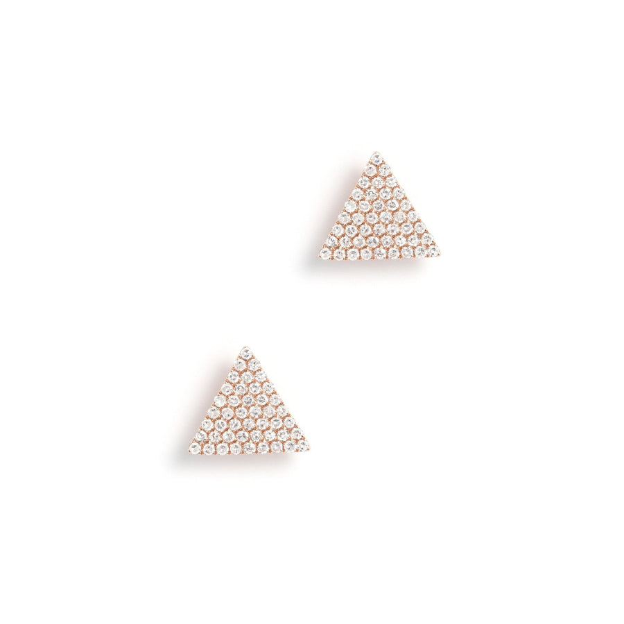 Gold & Diamond Triangle Stud Earrings