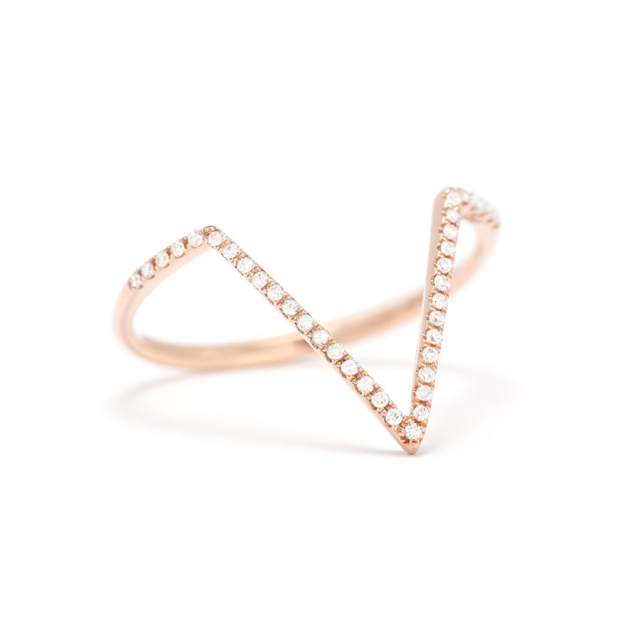 Gold & Diamond V-shaped Stack Ring