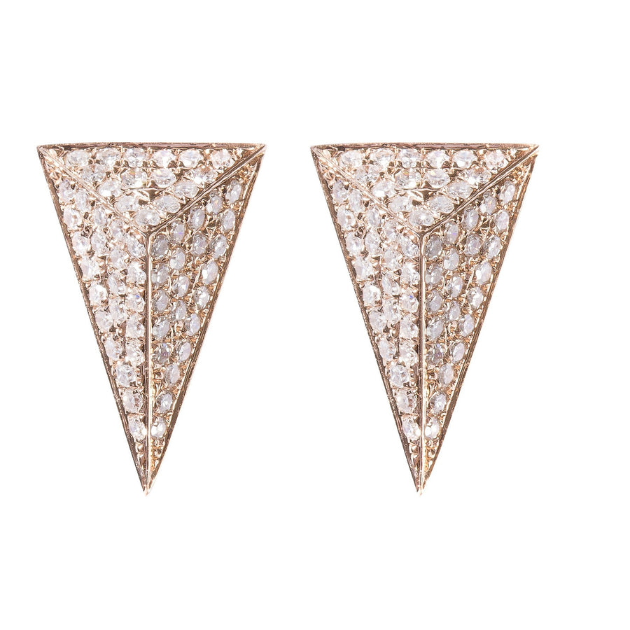 Gold & Diamond Pave Pyramind Earrings