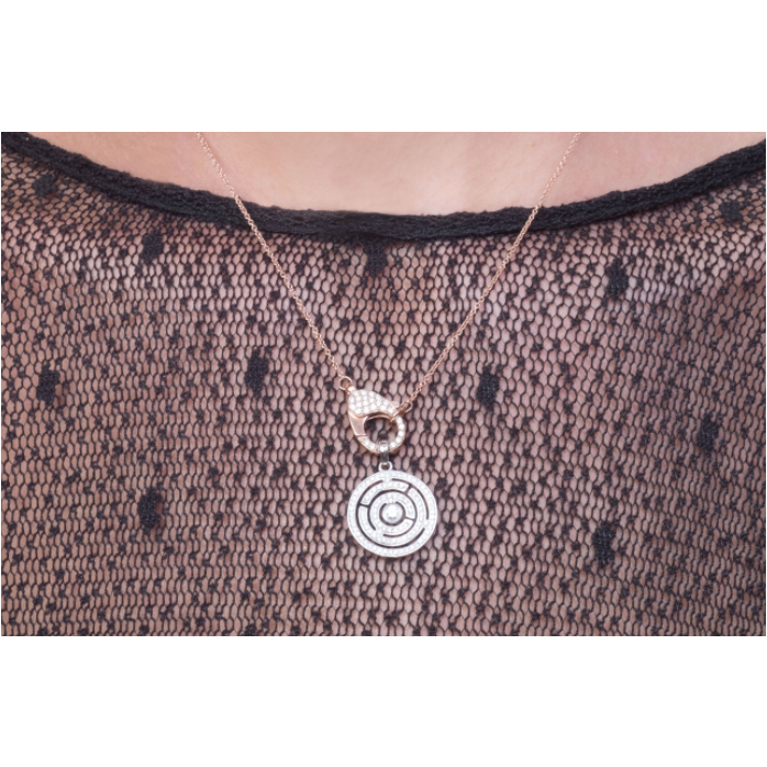 18ct diamond labyrinth pendant
