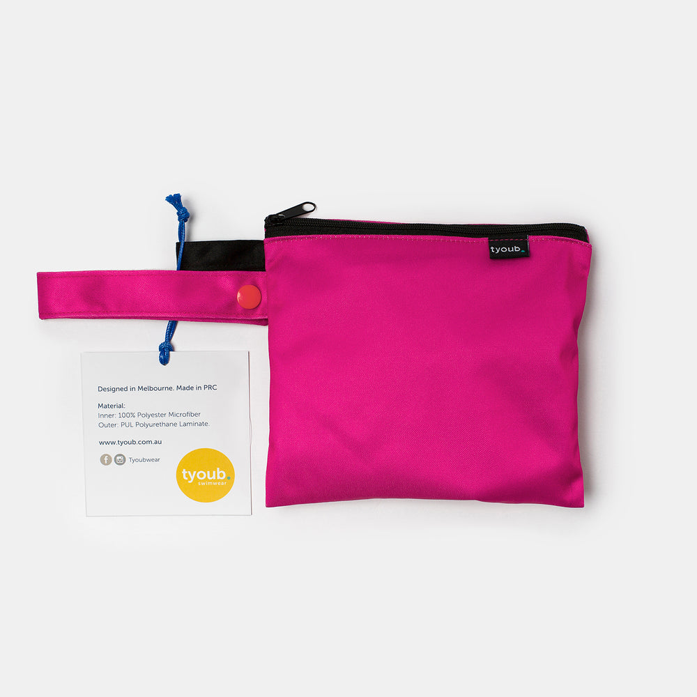 Reusable Swim Nappy + Zip Wet Bag in Hot Pink