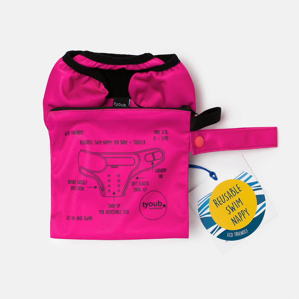 Reusable Swim Nappy + Wet Bag - Pink combo