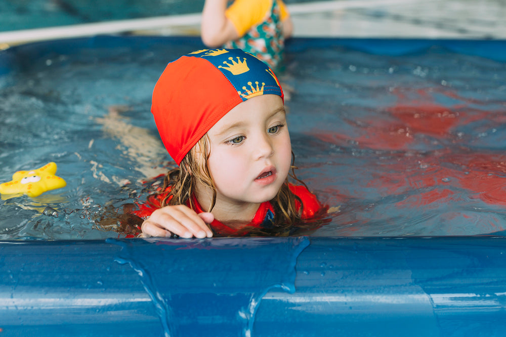 junior child swim cap red crown print