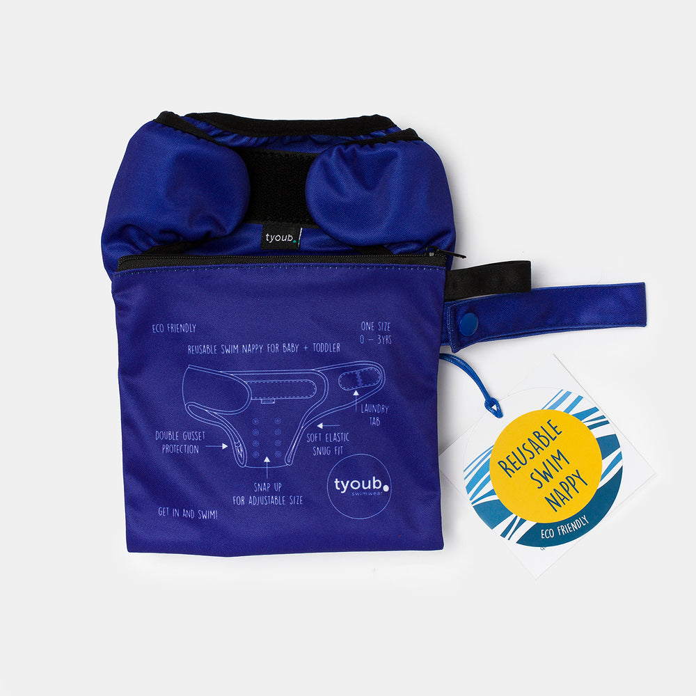 Baby & Toddler, Reusable Swim Nappy + Wet Bag - Blue combo