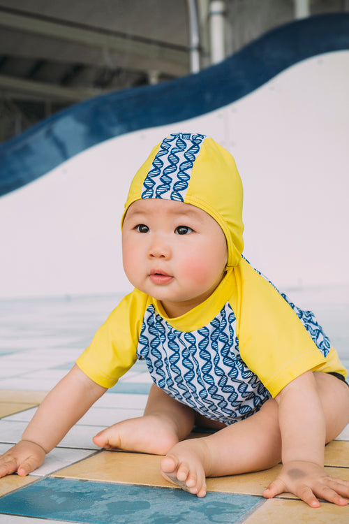 Junior Child Swim Cap - Sunshine Yellow &  DNA