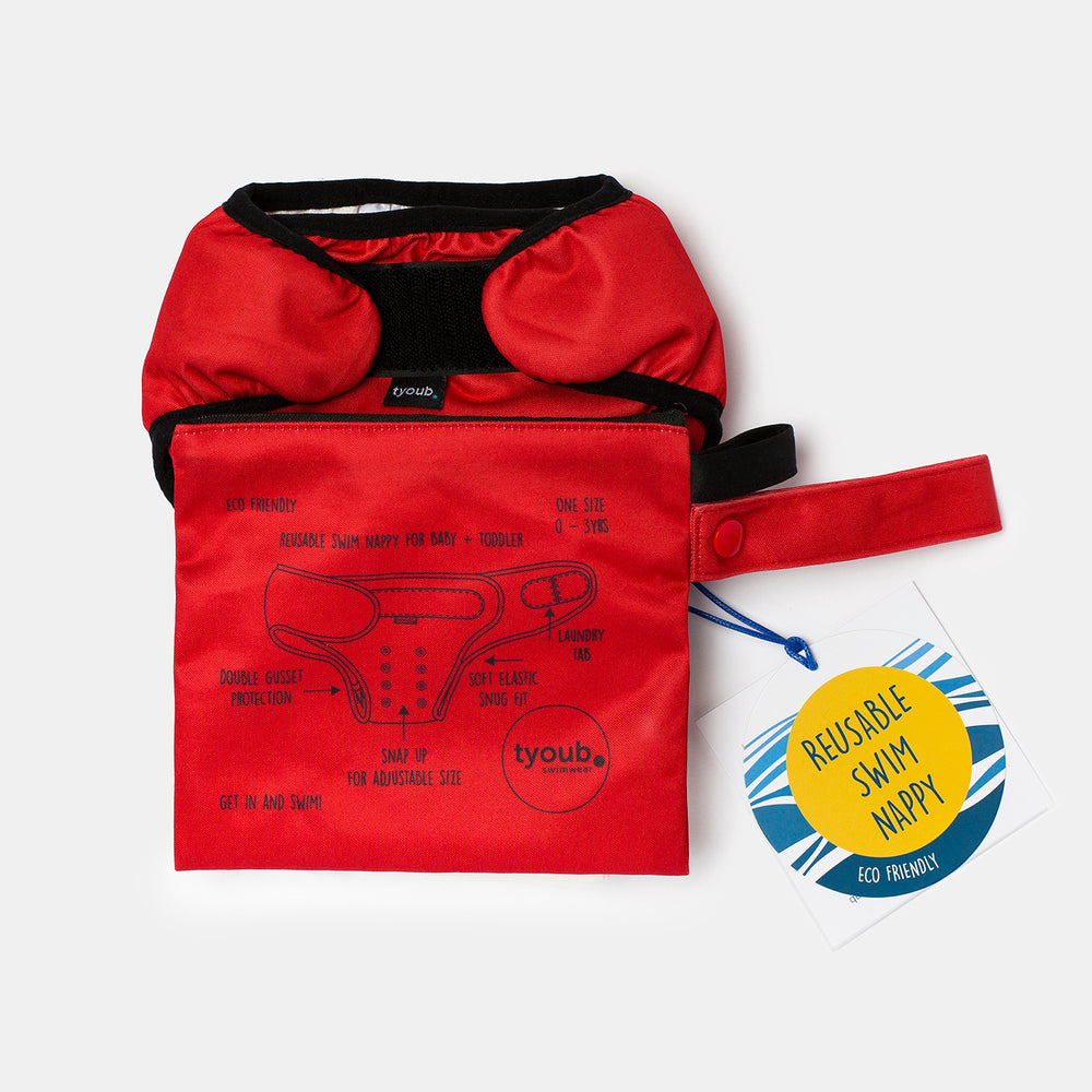 Baby & Toddler, Reusable Swim Nappy + Wet Bag - Red combo
