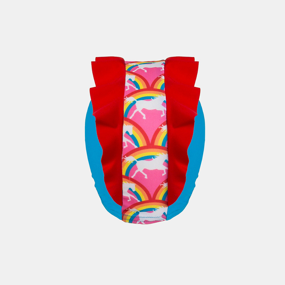 back view Junior Child Swim Cap - Rainbow Pony Frill Detail
