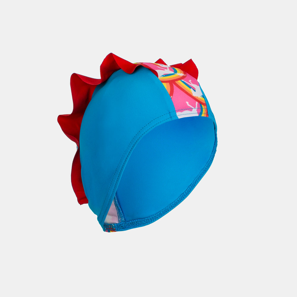 Junior Child Swim Cap - Rainbow Pony Frill Detail