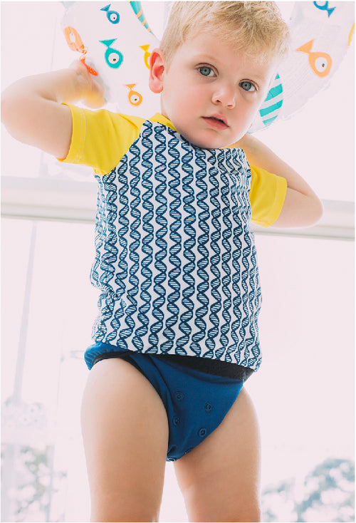 Reusable Swim Nappy + Zip Wet Bag in Navy Blue