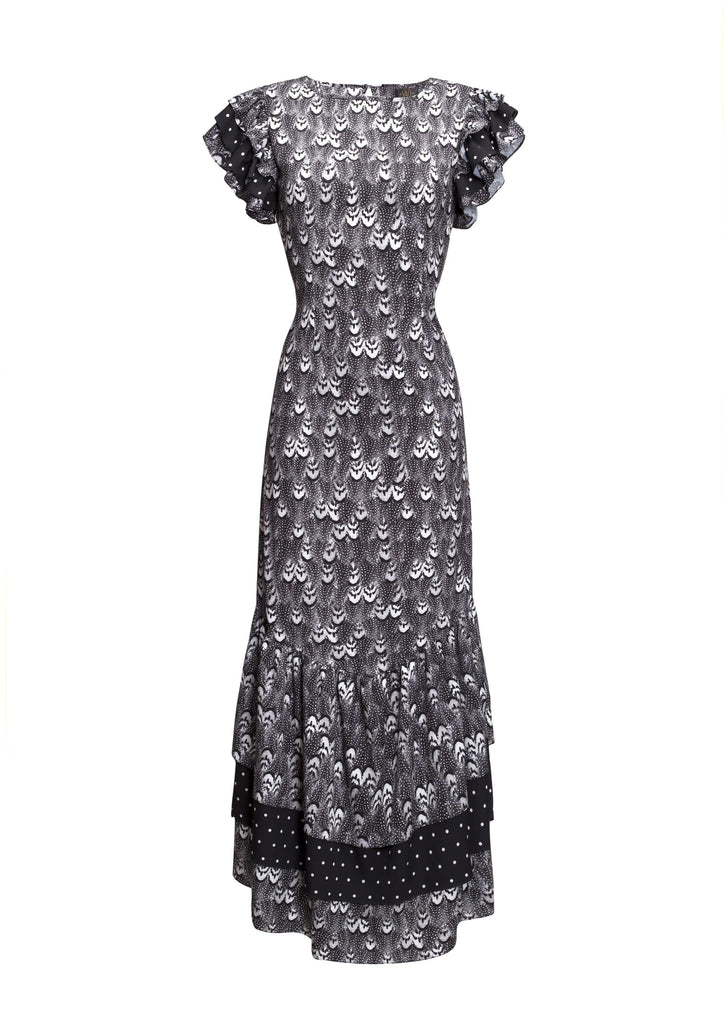 Apolonia Black Feather Print Dress - Browns Exclusive