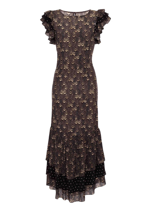 Apolonia Gold Feather Print Dress