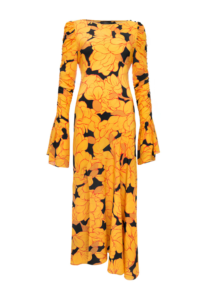 Clementine Dress Yellow Magnolia Print