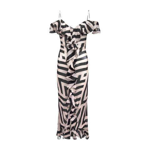 Jolene Cold Shoulder Chevron Silk-Chiffon Dress