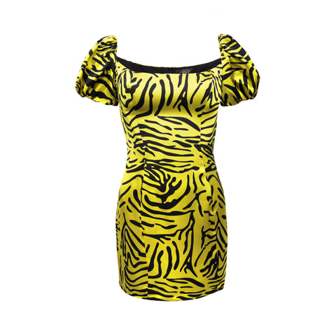 Koko Tiger Print Silk Satin Mini Dress