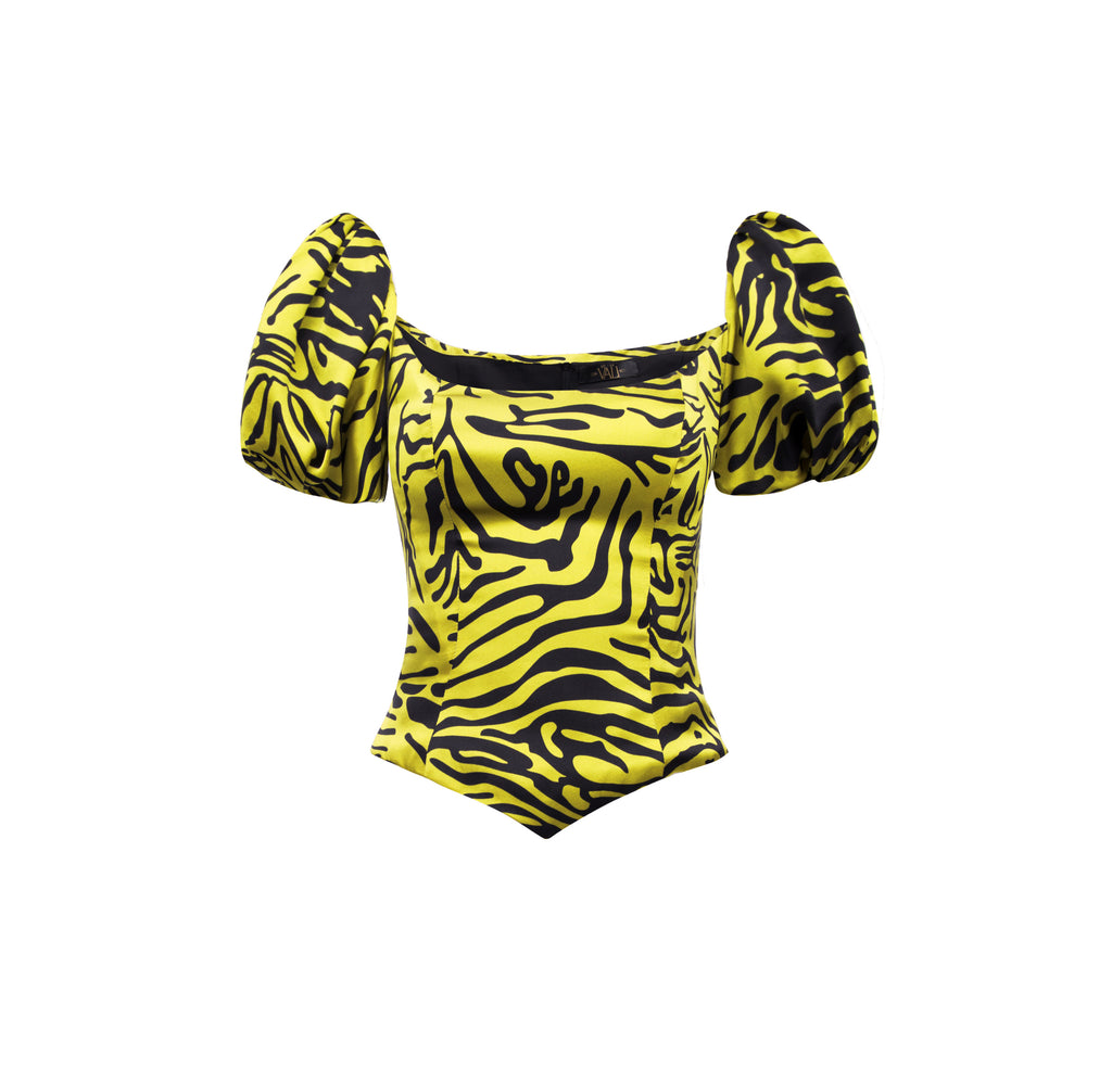 Koko Top Tiger Silk Satin