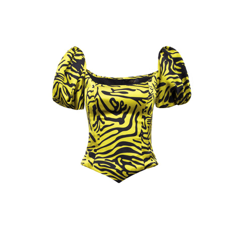 Koko Silk Satin Tiger Print Top
