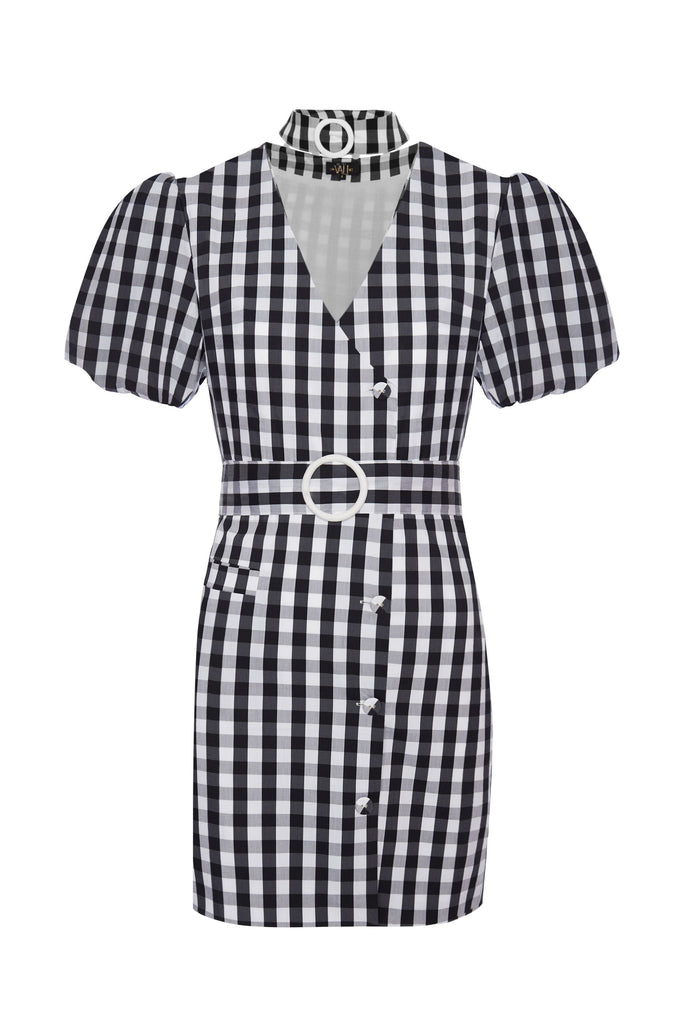 Mila Belted Cotton Gingham Mini Dress