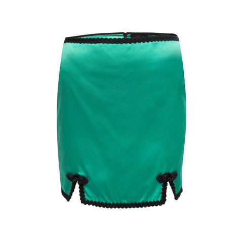 Sofia Viscose Satin Green Mini Skirt
