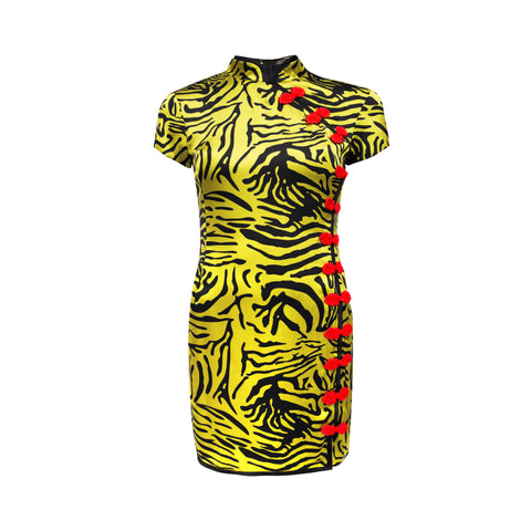 Suki Oriental Tiger Print Mini Dress