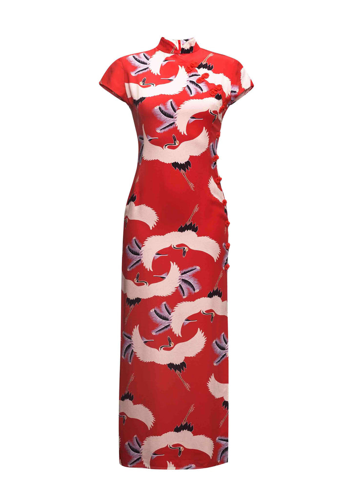 Suki Long Dress Red Bird Print