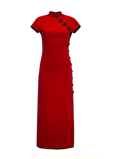 Suki Red Velvet Long Dress - Browns Exclusive