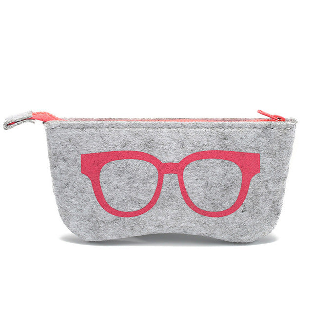 Exquisite Wool Felt Cloth Eyeglass Case Women Sunglasses Boxes Multiple Uses Lightweight Portable Soft Case Zip  for Glasses Bag