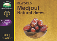Medjoul Natural Dates (Jumbo) by Elworld Organic - 500 Grams