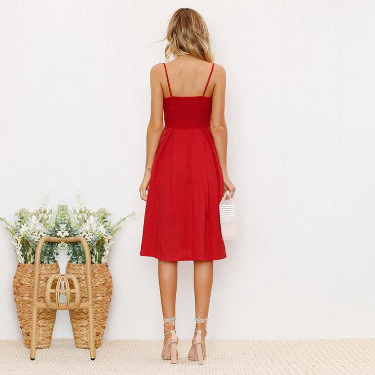 BUTTONY Backless Dress-DRESSES-URBANYOO