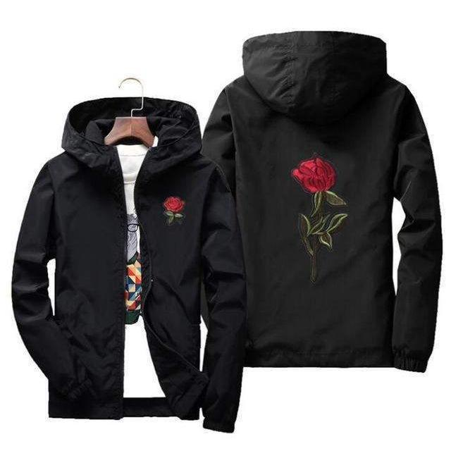 EMBROIDERY ROSE Windbreaker-WINDBREAKER-URBANYOO