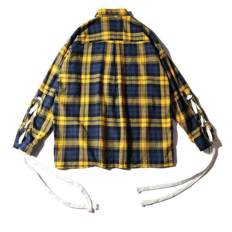 LACED UP Flannel-FLANNEL-URBANYOO