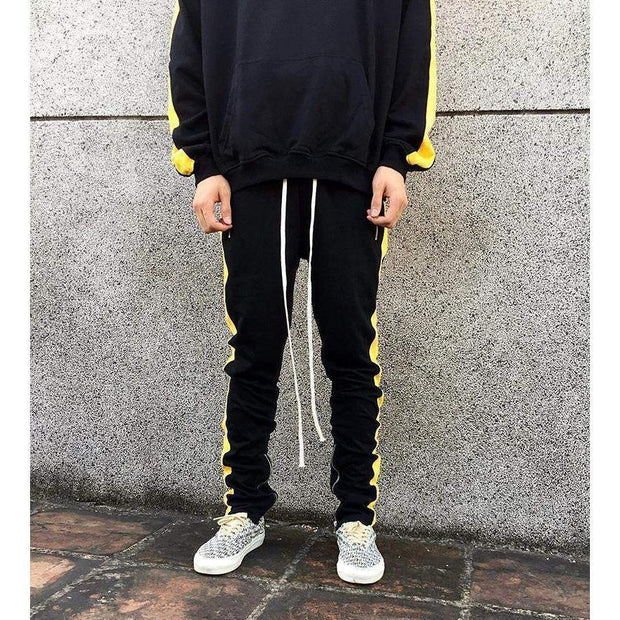 RETRO Joggers Black/Yellow-PANTS-URBANYOO