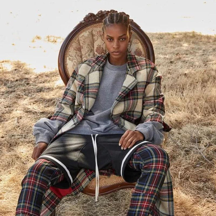 SIDE STRIPED PLAID Trackpants-PANTS-URBANYOO