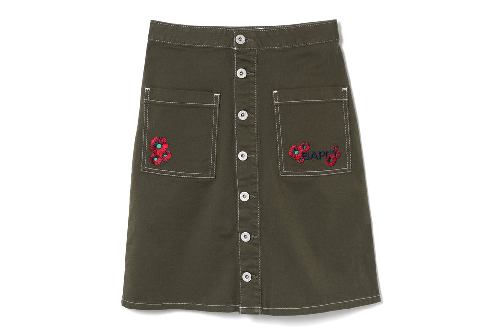 FLOWER LOGO FRONT BUTTON SKIRT