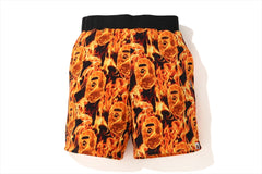 BAPE FLAME WIDE SWEAT SHORTS