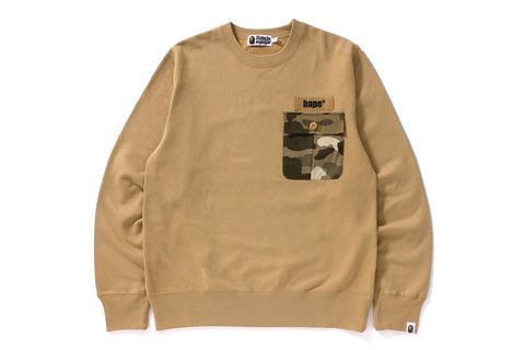 COLOR CAMO POCKET CREWNECK