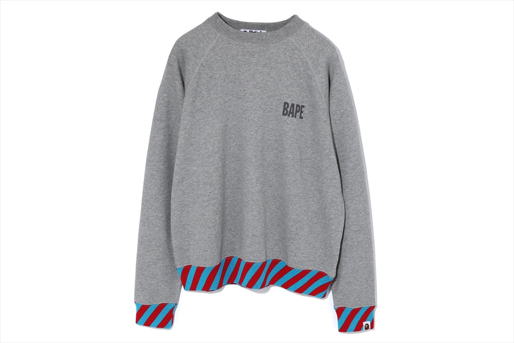 STRIPE RIB WIDE CREWNECK