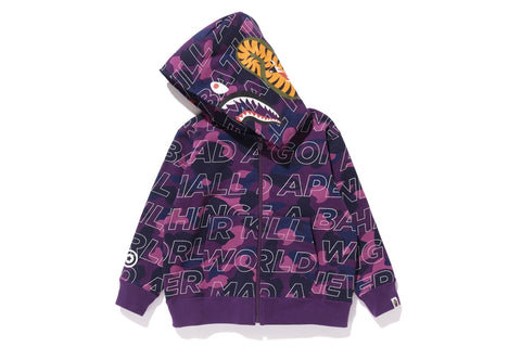 TEXT COLOR CAMO SHARK ZIP HOODIE