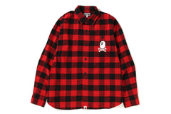 APE CROSSBONE BLOCK CHECK SHIRT