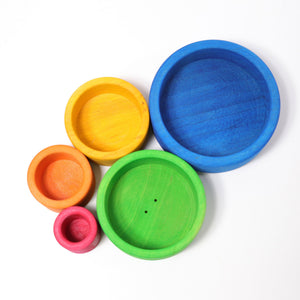 Coloured Stacking Bowls Outside Blue