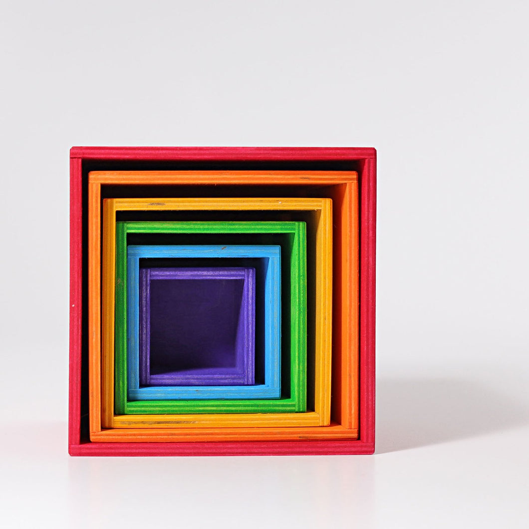 Grimm's Stacking Large Rainbow Coloured Boxes