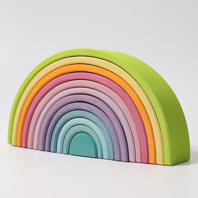 Large Pastel Rainbow 12 Piece Wooden Tunnel