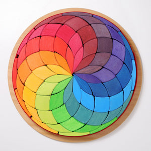 Large Wooden Mandala Circle Coloured Spiral 72 Pieces