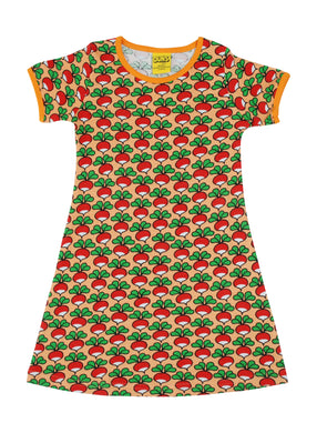 DUNS Sweden - Short Sleeve Organic Dress - Radish Cantaloupe