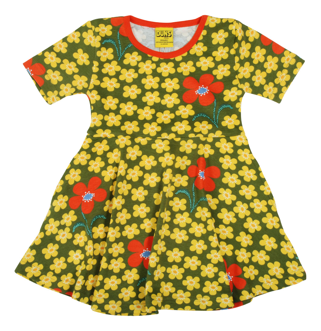 DUNS Sweden - Short Sleeve Organic Skater Dress - Flower Olive