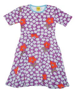 DUNS Sweden - Short Sleeve Organic Skater Dress - Flower Orchid